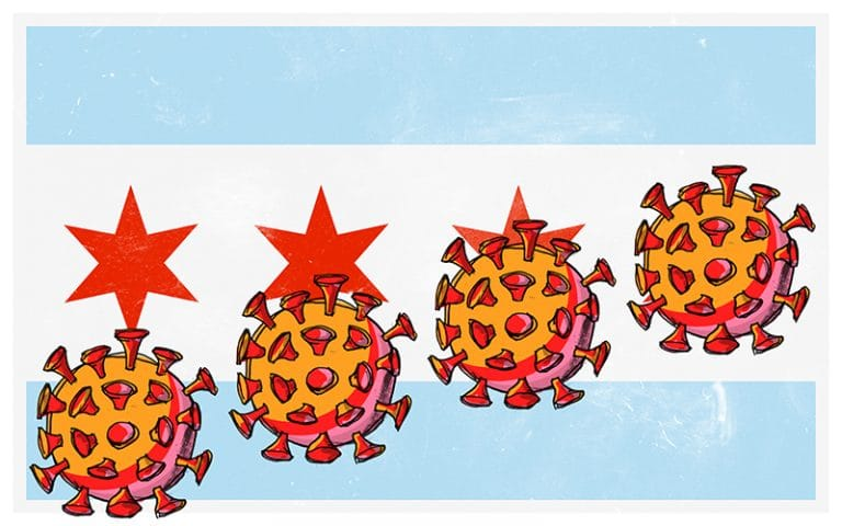 Coronavirus over Chicago Flag