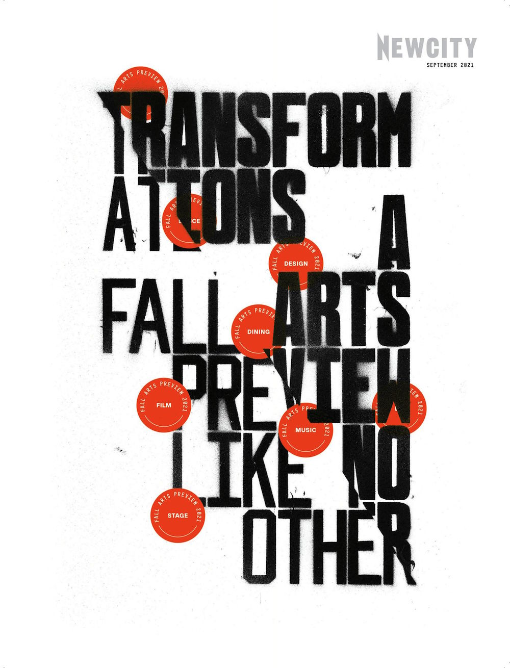 """Black text with words """"Transformations: A Fall Art Preview Like No Other"""" interspersed with red circles around text with various cultural worlds: Art, Film, etc."""